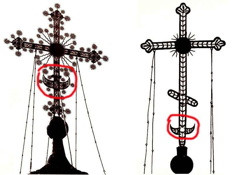 Что находится внизу креста на куполе?